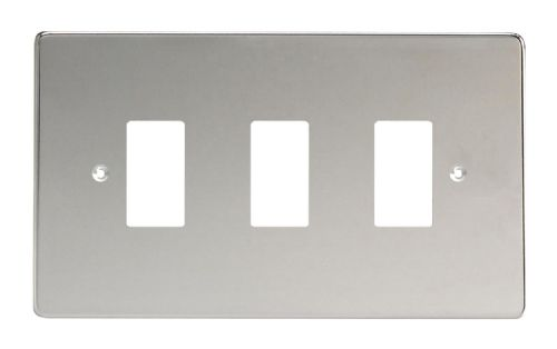 Varilight XDCPG3 PowerGrid Polished Chrome 3 Gang Grid Plate (Twin Plate)